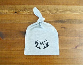 Personalized Baby Infant Hat - with Baby Initial and Antlers (Announcement, Gift)