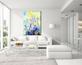 Living Room Art Large Abstract Canvas Textured Painting Colorful