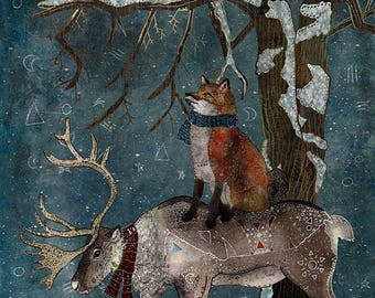 WINTER TALE 5x7 Fine Art Print - Fox Illustration- Fox Print 5x7- Small Fox Print- Whimsical Fox Art- Fox and Reindeer- Fox In The Forest