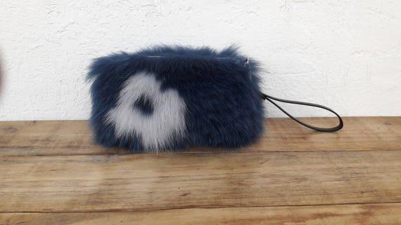 BLUE jean REAL fOX fUR WALLET with gray flower, Womens Bag, Fox Fur Handbag, Shoulder Bag Women, Tote Bag, Gift For Her, Handmade.