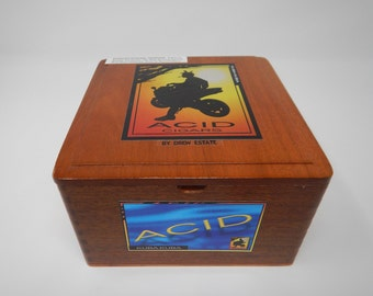 Wooden Cigar Box, Acid Cigar by Drew Estate, Kuba Kuba, Brown Cigar Box