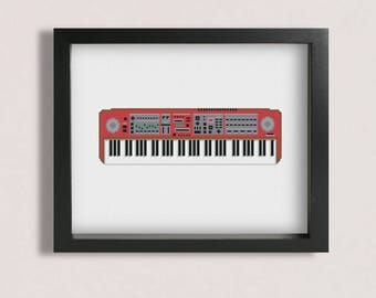 Keyboard cross stitch pattern / PDF instant download / instrument Cross Stitch / Music cross stitch / pop art cross stitch / Modern xstitch