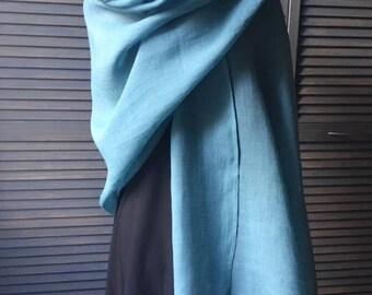 GRANDE ÉTOLE 100% LIN lavé et frangé, 75cm X 200 cm, coloris Bleu tropique