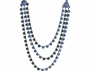 1930s Blue Glass Vintage Three Strand Necklace