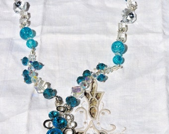 Women's glass beaded necklace, wire work, handmade, glass beads, mothers day gift, jewelry, pendant necklace,