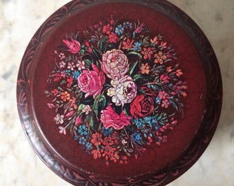 Vintage Barringer, Wallis & Manners Burgundy / Red Round Tin with Flowers. Roses and Peonies
