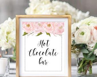Hot Chocolate Bar Sign, Wedding Bar Sign, Drink Sign, Blush Watercolor Peonies, Silver Glitter #SG002