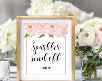 Sparkler Send Off Sign, Printable Sparkler Send Off, Sparklers Sign, Blush Watercolor Peonies, Silver Glitter #SG002
