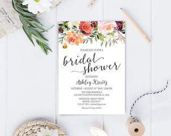 Watercolor Bridal Shower invitation, Bridal shower invitation, Rustic bridal shower invitation, Floral Bridal Shower - US_BI1303