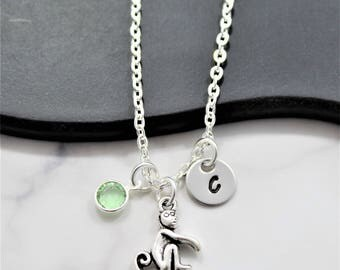 Monkey Necklace - Personalized - Monkey Birthday Gift - Monkey Themed - Monkey Jewelry - Silver Monkey Necklace - Girl's Monkey Jewelry