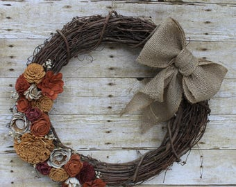 Sola wood flower wreath Fall Autumn Harvest