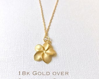 Gold over Sterling Silver plumeria necklace, Plumeria necklace, Hawaiian necklace, Plumeria jewelry, Flower necklace,Bridesmaid gift,
