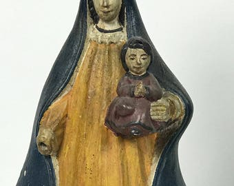 Carved Wood Religious Blessed Virgin Mary with Baby Statue
