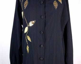 Vintage Southern Stitches Black Top/Blouse Button Down, 90s, Gold & Black
