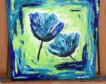 Teal and Blue Flowers