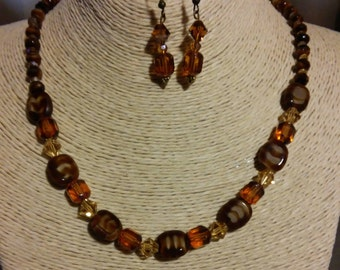 Tiger Crystal Necklace & Earring Set