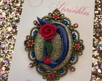 Beauty and the beast rose cameo necklace / brooch with Swarovski crystals