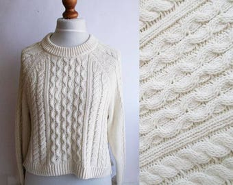 Womens Cableknit sweater, White cableknit sweater, Fisherman sweater, Cotton Sweater, Classic sweater, White sweater, Gift for her, Size M