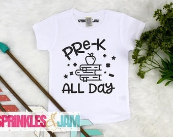 Boys Back to School Shirt, Pre-K All Day, Pre K Shirt For Boys, Back To School Outfit