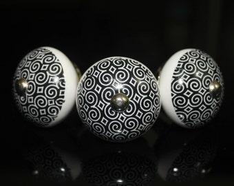 door knobs black white old arabic pattern door pulls door handles round kitchen pulls  -Price is for 1 knob (OMK009)