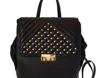 Metropolitan Black Leather backpack-women's hand made leather bag