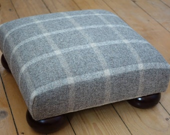 Bespoke upholstered beech bun footstool covered in a grey checked wool fabric, Gray low stool, Square footstool, Checked wollen footstool