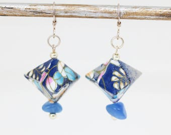 Aventurine - Aiko creating jewelry and Silver earrings - Origami box - Japanese Washi paper blue