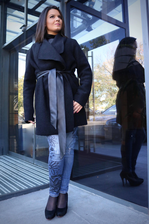 Black Oversized waterfall cardigan oversized vest wool vest