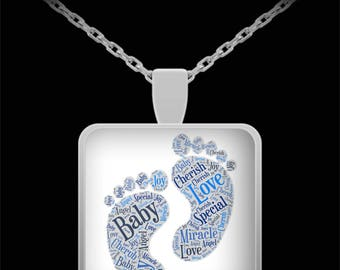 "IT'S A BOY! Necklace Jewelry Newborn BABY Feet Celebrate a Pregnancy or Birth Newborn with adorable Foot Print Silver Necklace 22"" Chain!"