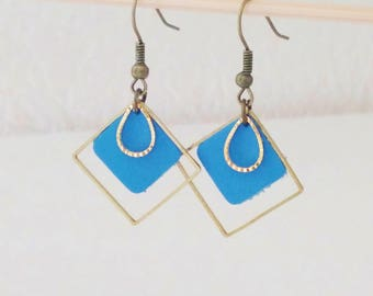 Double leather diamond and drop earrings, simple and chic blue