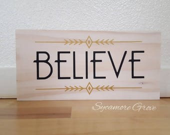 Believe, wooden Christmas sign, black and gold, solid wood wall hanging, shelf sitter, holiday decor, Christmas in July, gold accents