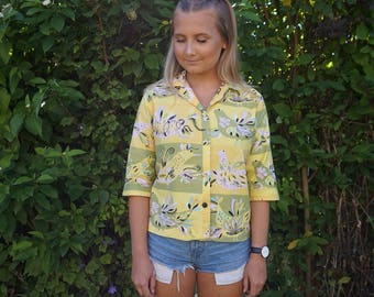 True Vintage Medium 1950s 1960s SYDNEY Honolulu Hawaiian Hawaii Partridge Novelty Bird Print Blouse Shirt Top Cotton Sateen