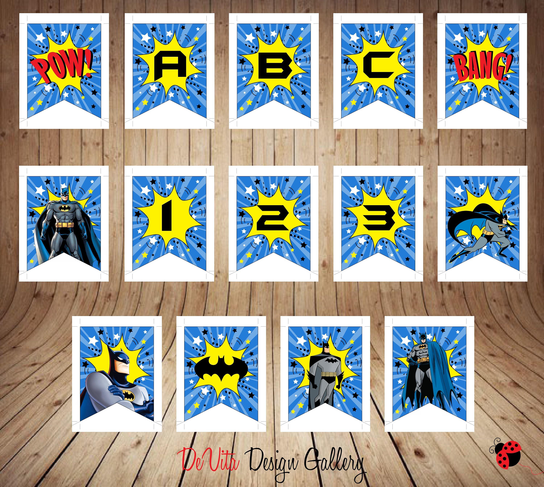 Birthday Banner Batman DIgital Banner Batman Party Decor