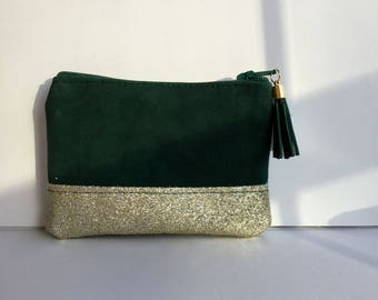 Emerald green leather wallet and gold glitter fabric