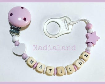 Pacifier holder  for MAM CHICCO NUK pacifier without ring / With baby name/ Natural wood/ Handmade/ Dummy clip/ Customized/ Babyboy Babygirl