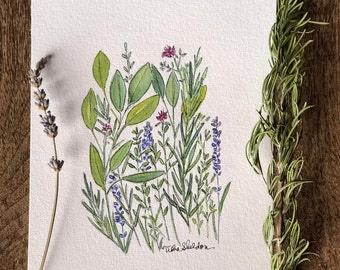 """An Original Pen and Ink and Watercolor, """"Herb Gathering"""""""