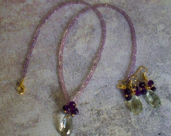 Pink, Purple, Green Amethyst Necklace with Matching Earrings.