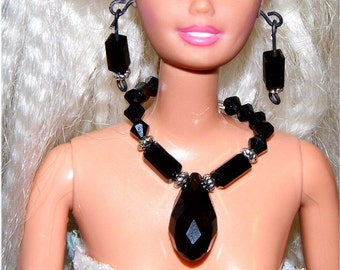 Brilliant black crystal Barbie necklace and earring set.  Handmade by Nims