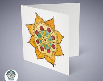 Fall Mandala Greeting Card // Printed in Newport, RI • Hindu • Buddhist • Tattoo • Zen • Yoga • Good Vibes • Peace