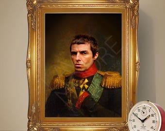 Liam Gallagher Renaissance Portrait Print, Liam Gallagher Poster, Oasis Poster, Music Print, Oasis Print