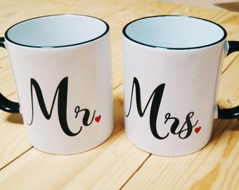 Mr. & Mrs. Mug set / Wedding Gift / Husband and Wife Mug Set / Husband Gift / Wife Gift / Engagement Gift / Wedding Mugs / Couples Gift