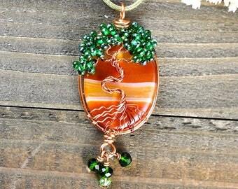 Tree-of-Life Pendant, Unique Tree Necklace, Yggdrasil Necklaces, Tree-of-Life Jewelry, Tree of Life Stone, Tree of Life Talisman, Tree Charm