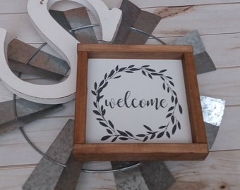rae dunn sign, welcome sign, small wood sign, farmhouse sign, kitchen sign, framed wood sign, rustic wood sign,fixer upper sign,shelf sitter