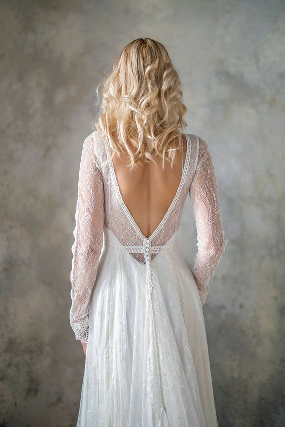 Long sleeve bohemian wedding dress boho wedding dress lace for Bohemian wedding dress shops