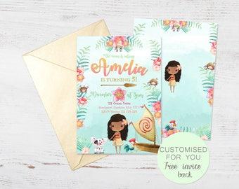 Moana Polynesian Girl Invite | Tropical Summer Hawaii Luau Hula Beach | Birthday Party Invitation | Printable Personalised Digital Download