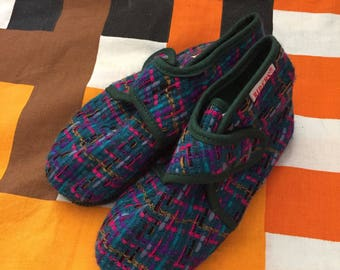1970s Vintage Baby Deadstock Children's Multi Coloured Slippers UK Infant 7/Eur 25