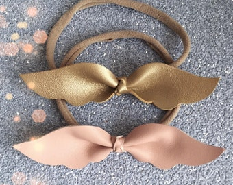 Leather baby wings headband