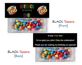 UNO theme birthday party Goodie Bag Toppers