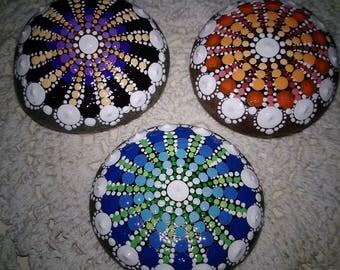 Primary BLUE w/ Green small Mandala Stone for Haaling & Meditation