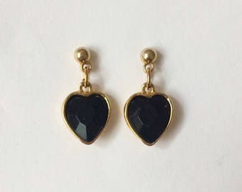 Vintage 1960's Black Heart Lucite Rhinestone Gold Stud Dangle Drop Earrings